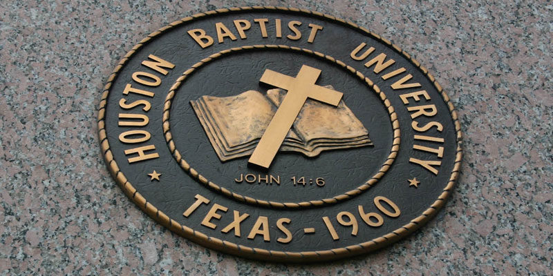 Image of the HBU Seal at Entrance One of campus