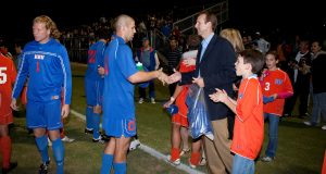 Randy Sorrels and his family greeting the HBU Soccer Team
