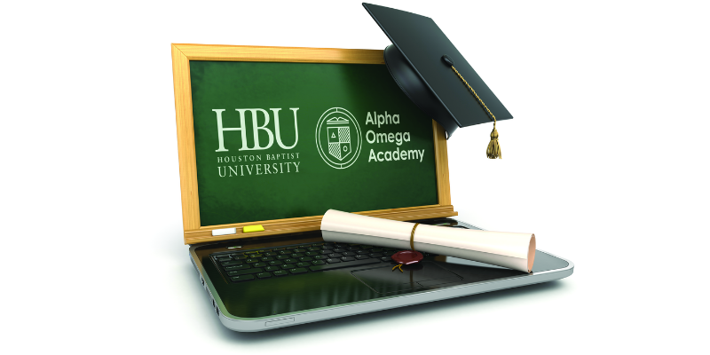 HBU Alpha Omega Academy logo pictured on a laptop with a degree scroll and graduation cap.