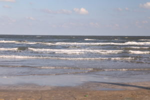 A picture of the beach on Galveston Island